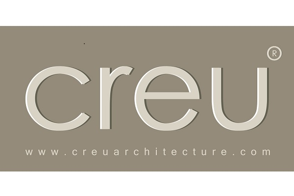 Letters CREU in lower case on gray background with company website underneath