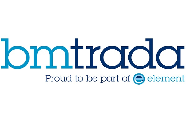 """Logo for BM TRADA in 2 shades of blue with strapline under neath """"Proud to be part of element"""""""