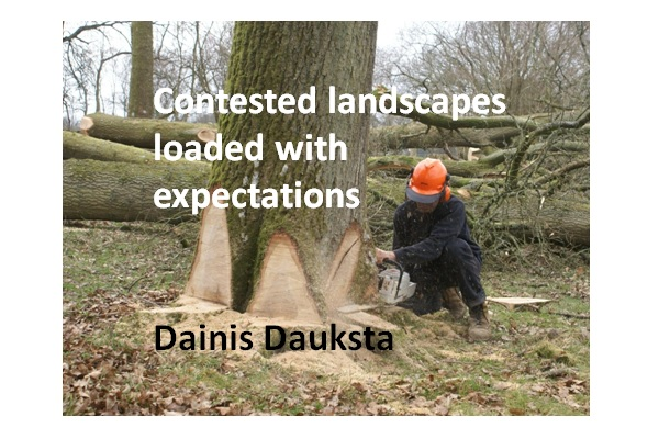First slide from powerpoint presentation showing a tree being felled