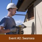Event 2 Swansea. Person installing wood fibre insulation