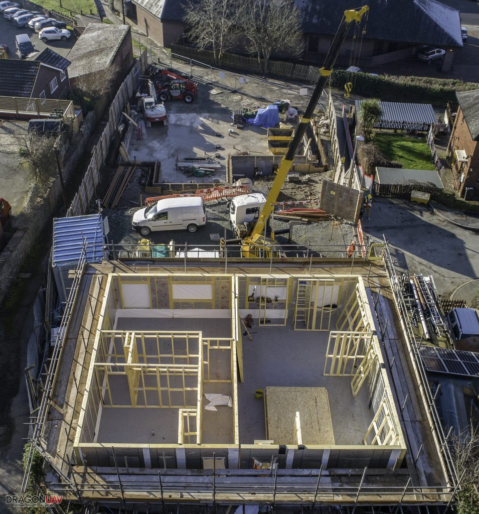 Arial photo of Welshpool Croft Court Site being build by MidWales Housing.